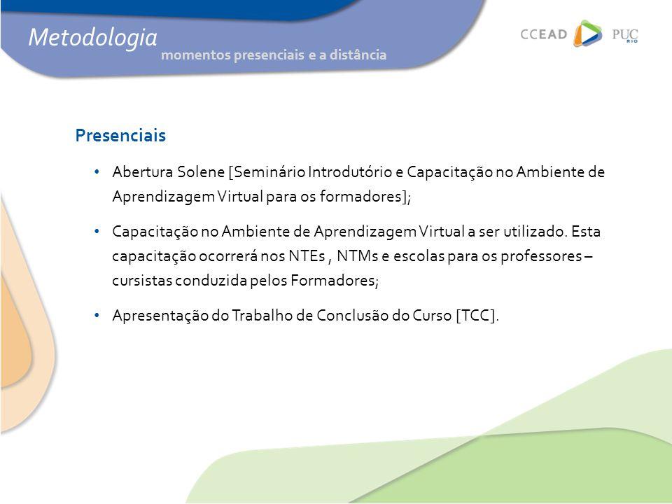 Metodologia Presenciais • Abertura Solene [Seminário Introdutório e Capacitação no Ambiente de Aprendizagem Virtual para os formadores]; • Capacitação