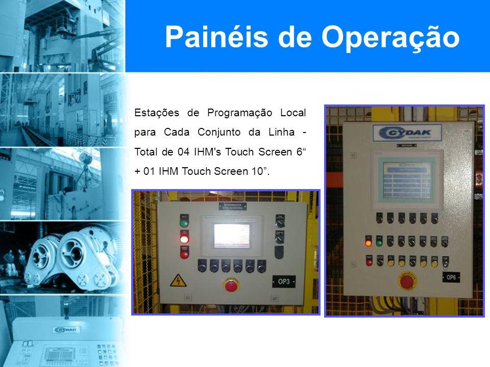 Painel de Operação Principal com IHM 12 - Programação e total Integração do operador com a Linha + Receita para armazenamento de todos os Parâmetros de Programação conforme material a ser processado.
