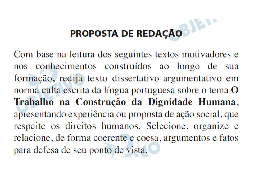 PLANEJANDO A REDAÇÃO ENEM 2010 – O TRABALHO NA CONSTRUÇÃO DA DIGNIDADE HUMANA, apresentando experiência ou proposta de ação social, que respeite os direitos humanos.
