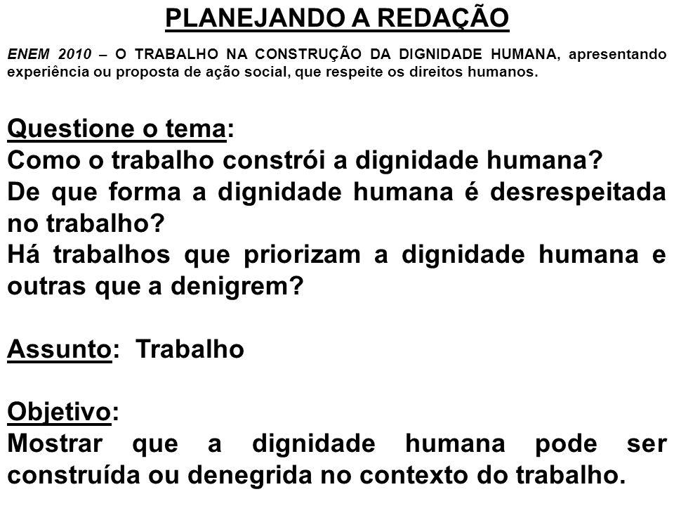 PLANEJANDO A REDAÇÃO ENEM 2010 – O TRABALHO NA CONSTRUÇÃO DA DIGNIDADE HUMANA, apresentando experiência ou proposta de ação social, que respeite os di