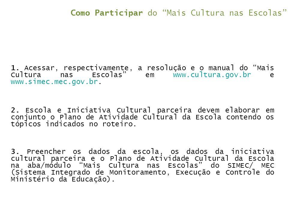 """Como Participar do """"Mais Cultura nas Escolas"""" 1. Acessar, respectivamente, a resolução e o manual do """"Mais Cultura nas Escolas"""" em www.cultura.gov.br"""