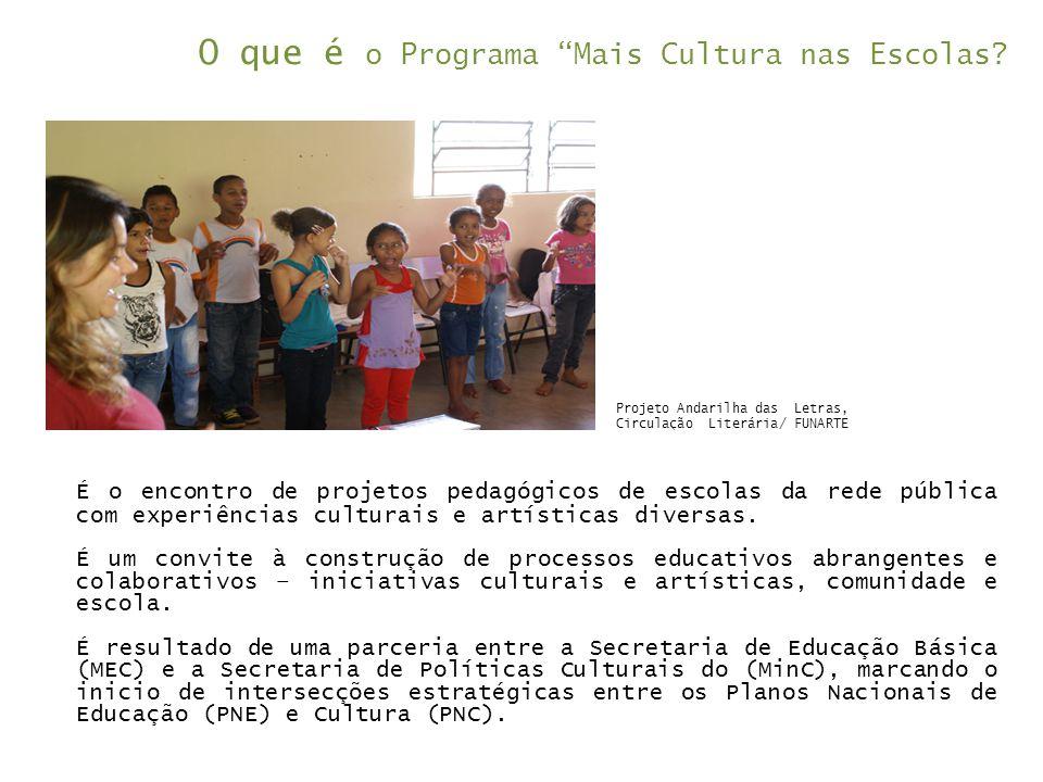 """O que é o Programa """"Mais Cultura nas Escolas? É o encontro de projetos pedagógicos de escolas da rede pública com experiências culturais e artísticas"""