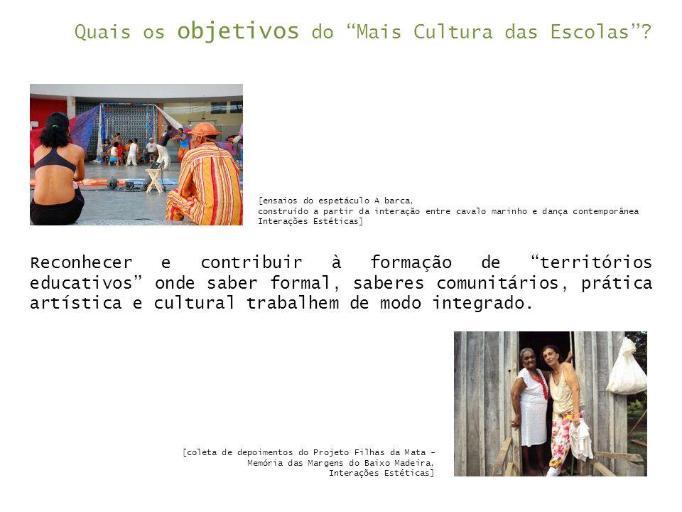 """Quais os objetivos do """"Mais Cultura das Escolas""""? Reconhecer e contribuir à formação de """"territórios educativos"""" onde saber formal, saberes comunitári"""