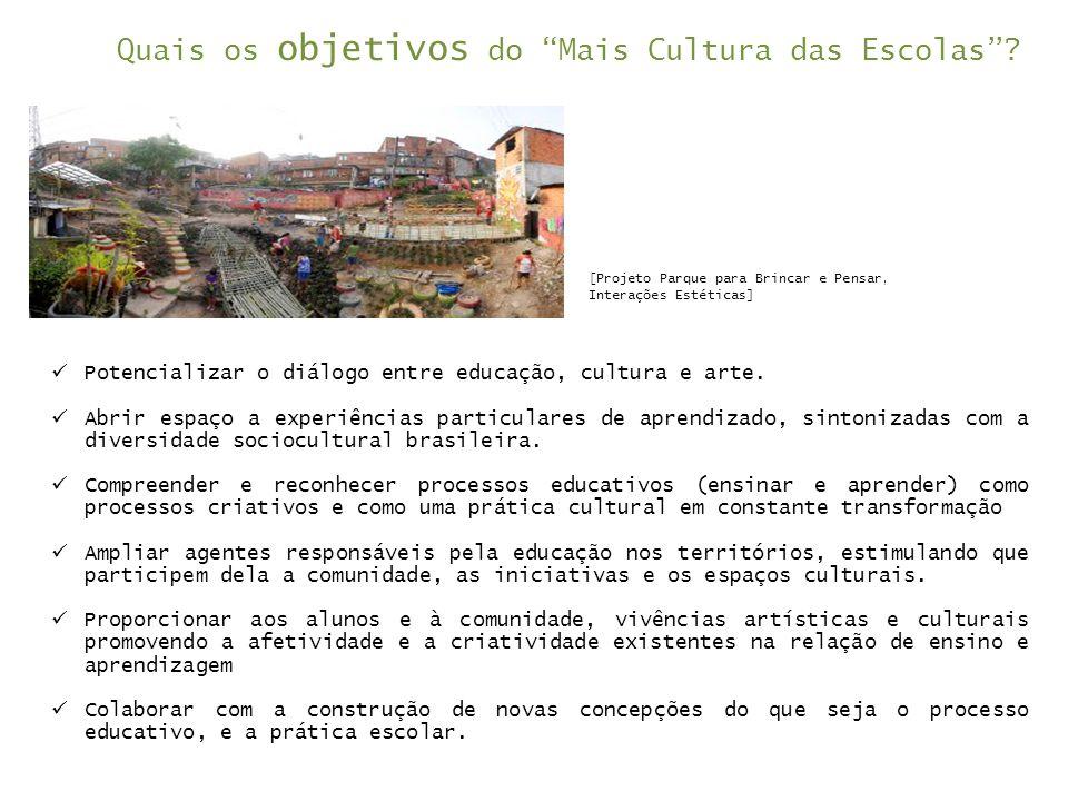  Potencializar o diálogo entre educação, cultura e arte.  Abrir espaço a experiências particulares de aprendizado, sintonizadas com a diversidade so