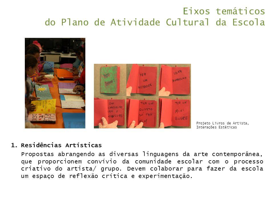 Eixos temáticos do Plano de Atividade Cultural da Escola 1.Residências Artísticas Propostas abrangendo as diversas linguagens da arte contemporânea, q