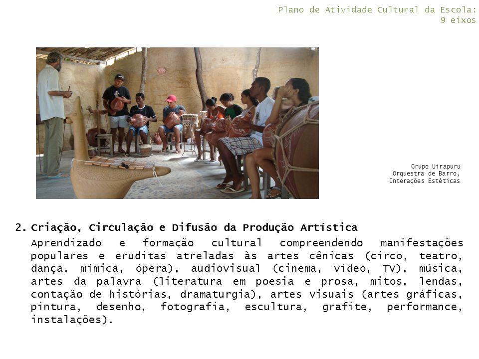 2.Criação, Circulação e Difusão da Produção Artística Aprendizado e formação cultural compreendendo manifestações populares e eruditas atreladas às ar