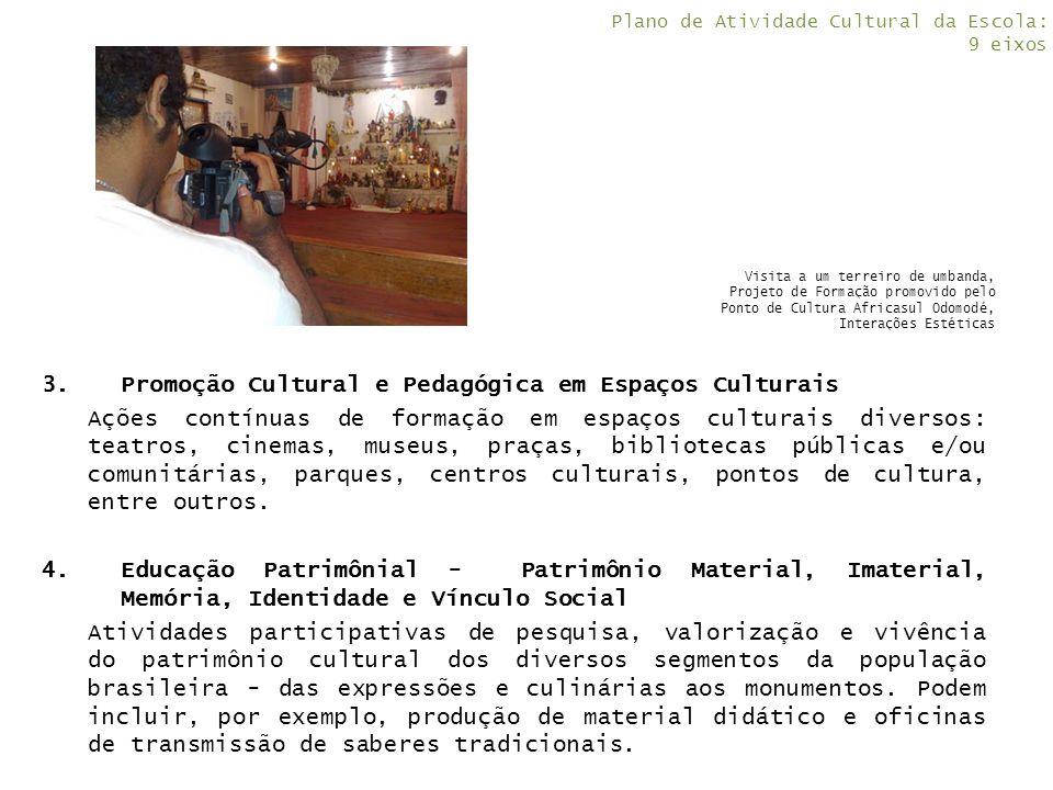 3.Promoção Cultural e Pedagógica em Espaços Culturais Ações contínuas de formação em espaços culturais diversos: teatros, cinemas, museus, praças, bib