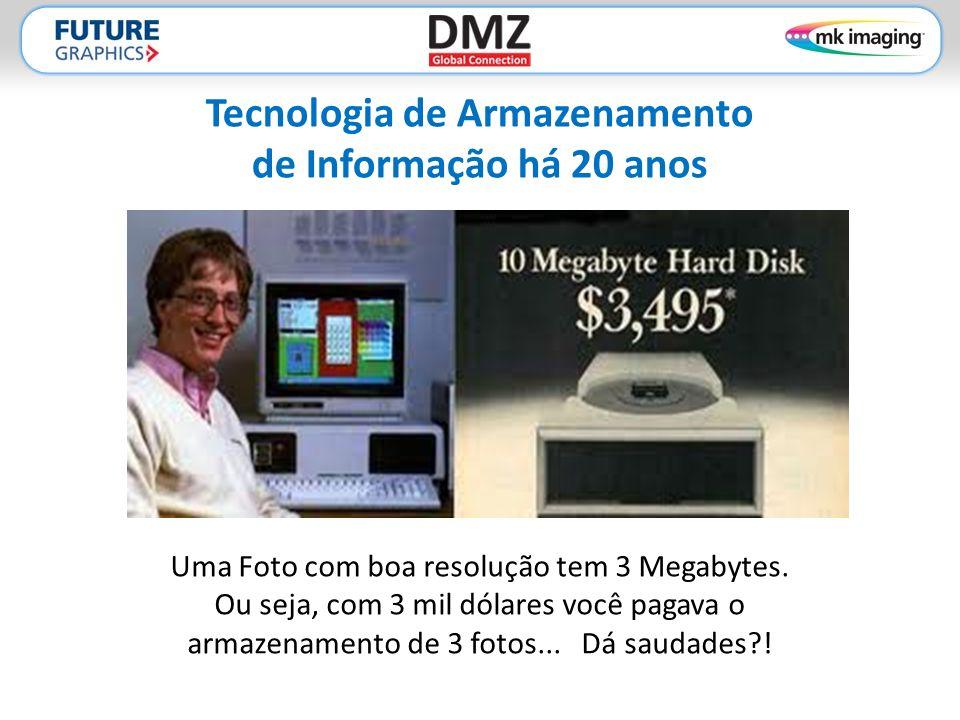 Tecnologia de Armazenamento de Informação há 20 anos Uma Foto com boa resolução tem 3 Megabytes. Ou seja, com 3 mil dólares você pagava o armazenament