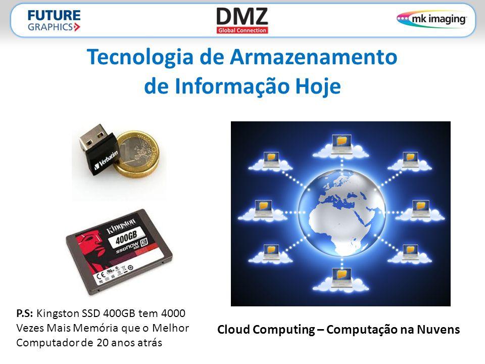 Tecnologia de Armazenamento de Informação Hoje Cloud Computing – Computação na Nuvens P.S: Kingston SSD 400GB tem 4000 Vezes Mais Memória que o Melhor Computador de 20 anos atrás