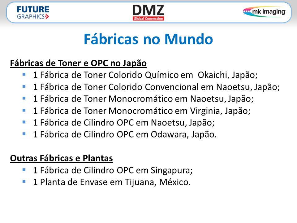 Fábricas no Mundo Fábricas de Toner e OPC no Japão  1 Fábrica de Toner Colorido Químico em Okaichi, Japão;  1 Fábrica de Toner Colorido Convencional