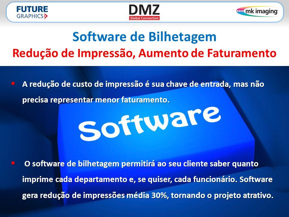 Software de Bilhetagem Redução de Impressão, Aumento de Faturamento  A redução de custo de impressão é sua chave de entrada, mas não precisa representar menor faturamento.