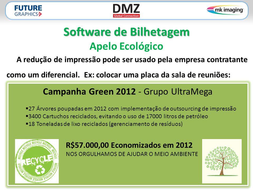 Software de Bilhetagem Software de Bilhetagem Apelo Ecológico A redução de impressão pode ser usado pela empresa contratante como um diferencial. Ex: