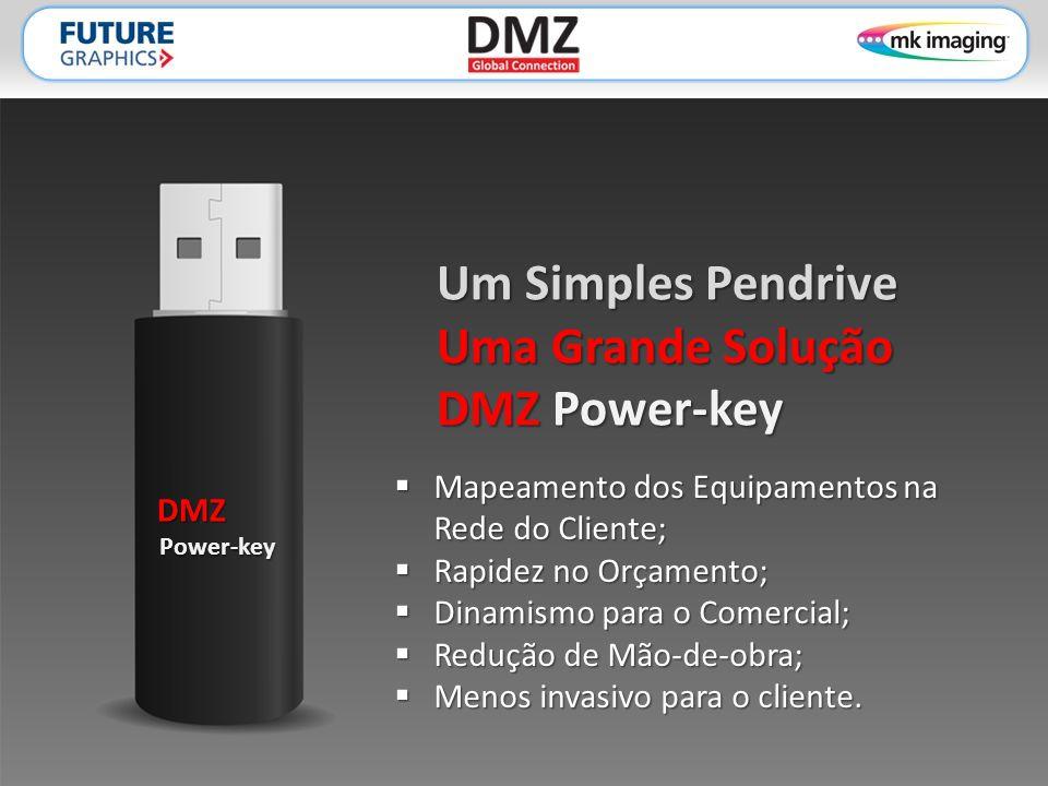 Um Simples Pendrive Uma Grande Solução DMZ Power-key  Mapeamento dos Equipamentos na Rede do Cliente;  Rapidez no Orçamento;  Dinamismo para o Comercial;  Redução de Mão-de-obra;  Menos invasivo para o cliente.