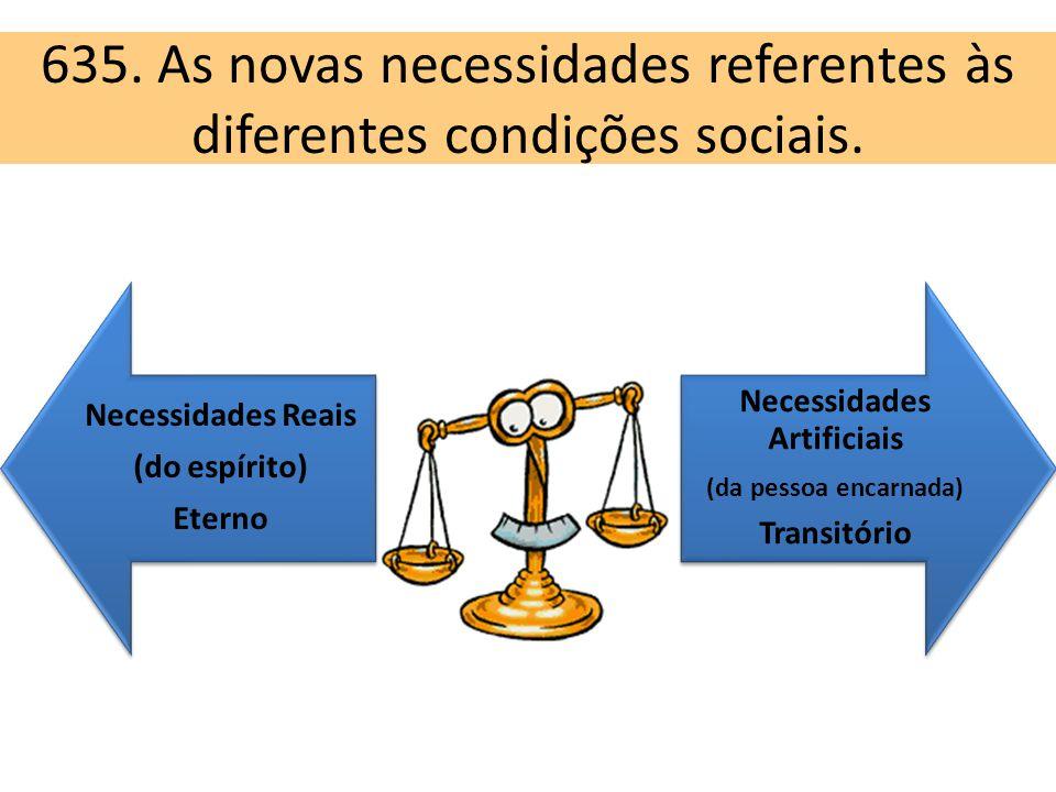 635. As novas necessidades referentes às diferentes condições sociais. Necessidades Reais (do espírito) Eterno Necessidades Artificiais (da pessoa enc