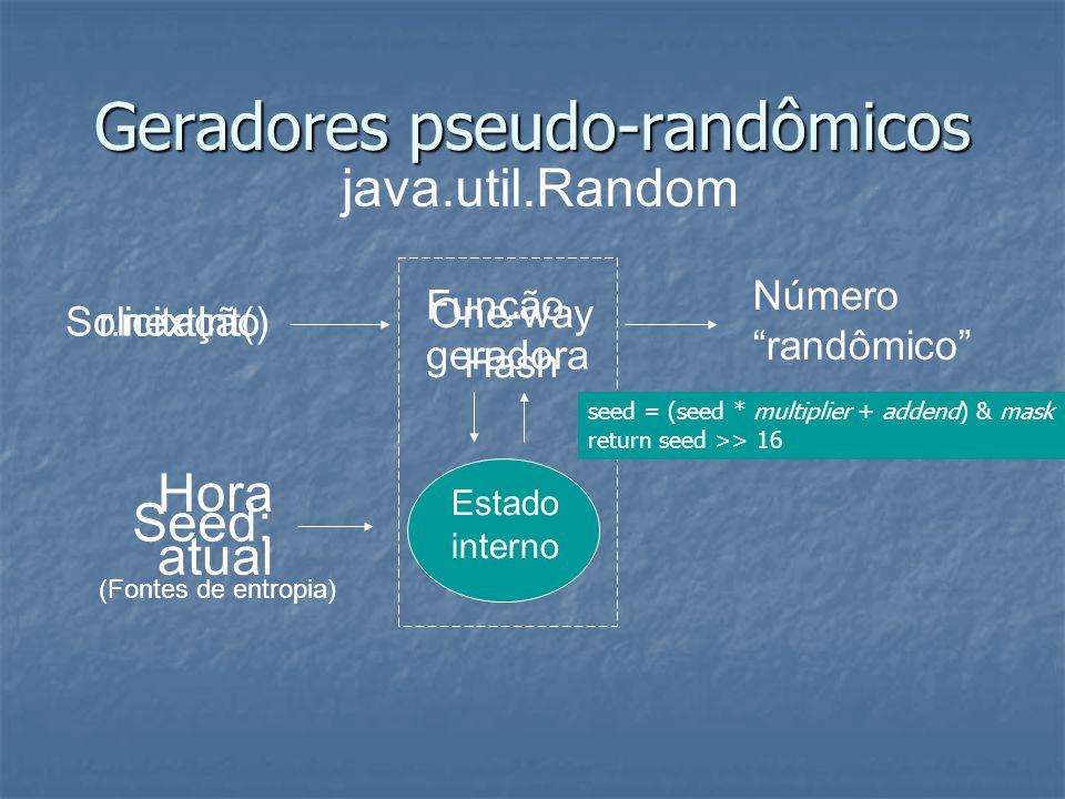 r.nextInt()Solicitação Função geradora One-way Hash Hora atual Geradores pseudo-randômicos Seed: Número randômico Estado interno java.util.Random (Fontes de entropia) seed = (seed * multiplier + addend) & mask return seed >> 16