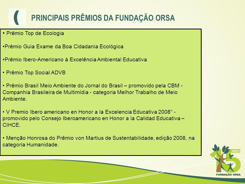 PRINCIPAIS PRÊMIOS DA FUNDAÇÃO ORSA • Prêmio Top de Ecologia •Prêmio Guia Exame da Boa Cidadania Ecológica •Prêmio Ibero-Americano à Excelência Ambien
