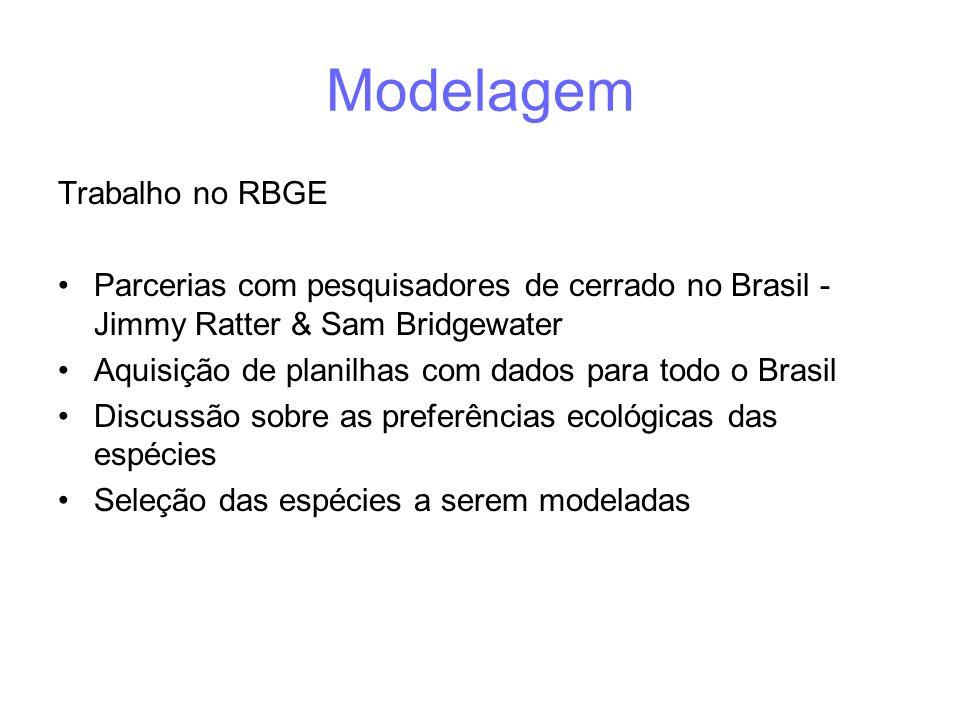Modelagem Trabalho no RBGE •Parcerias com pesquisadores de cerrado no Brasil - Jimmy Ratter & Sam Bridgewater •Aquisição de planilhas com dados para todo o Brasil •Discussão sobre as preferências ecológicas das espécies •Seleção das espécies a serem modeladas