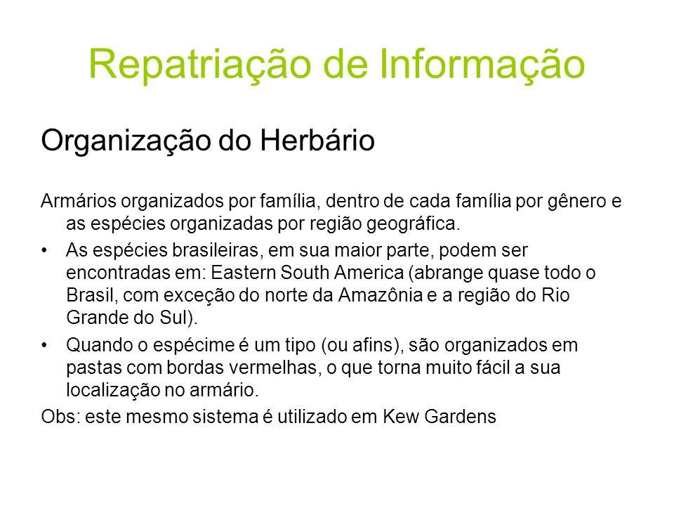 Repatriação de Informação Organização do Herbário Armários organizados por família, dentro de cada família por gênero e as espécies organizadas por região geográfica.