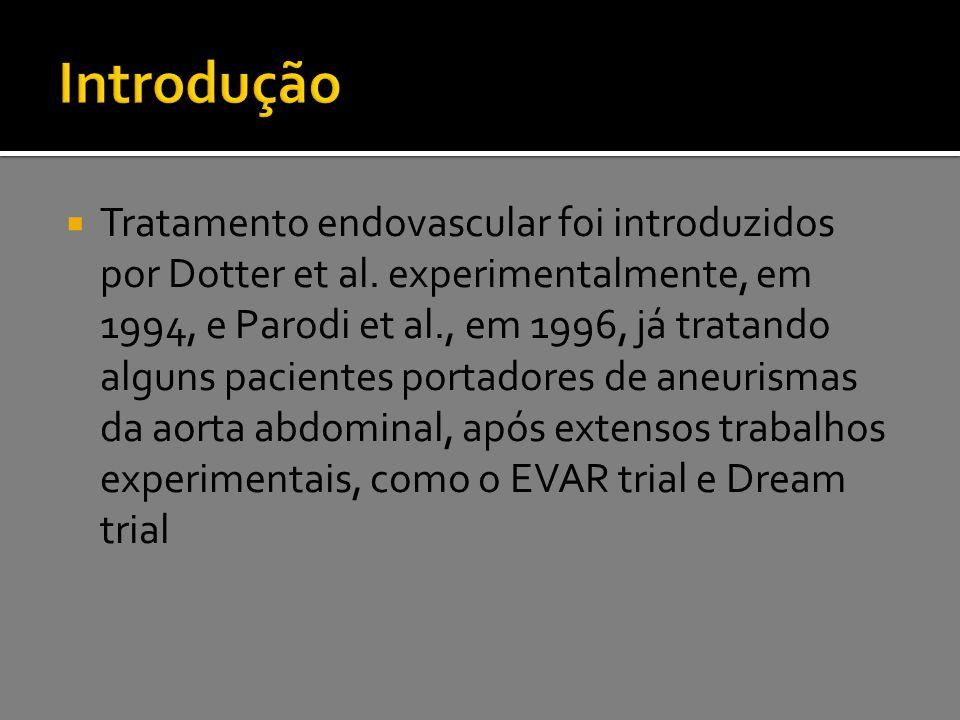  Tratamento endovascular foi introduzidos por Dotter et al. experimentalmente, em 1994, e Parodi et al., em 1996, já tratando alguns pacientes portad