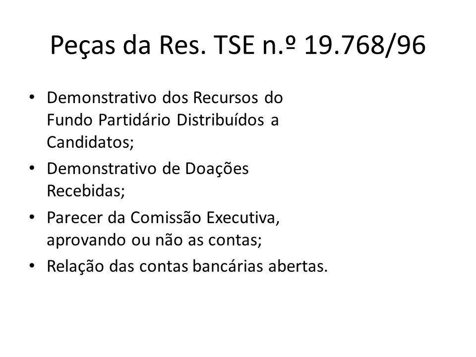 Peças da Res. TSE n.º 19.768/96 • Demonstrativo dos Recursos do Fundo Partidário Distribuídos a Candidatos; • Demonstrativo de Doações Recebidas; • Pa