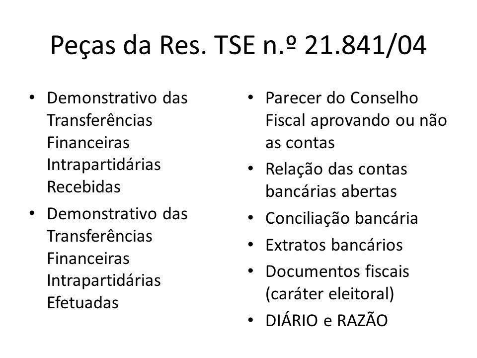Peças da Res. TSE n.º 21.841/04 • Demonstrativo das Transferências Financeiras Intrapartidárias Recebidas • Demonstrativo das Transferências Financeir