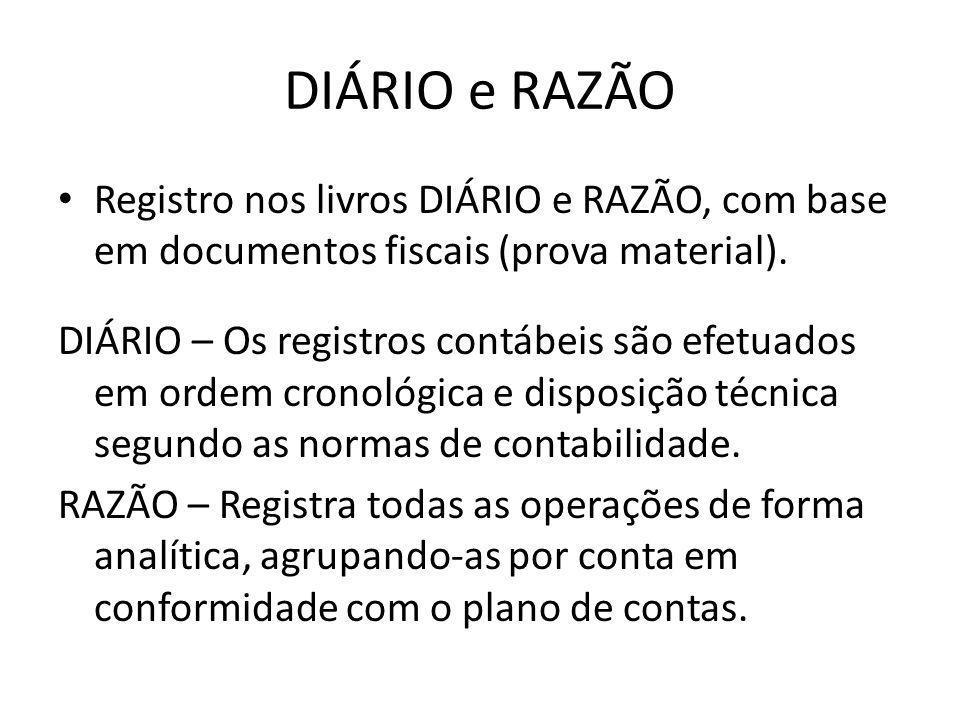 DIÁRIO e RAZÃO • Registro nos livros DIÁRIO e RAZÃO, com base em documentos fiscais (prova material). DIÁRIO – Os registros contábeis são efetuados em