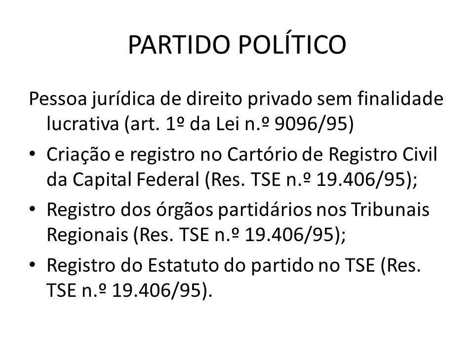PARTIDO POLÍTICO Pessoa jurídica de direito privado sem finalidade lucrativa (art. 1º da Lei n.º 9096/95) • Criação e registro no Cartório de Registro