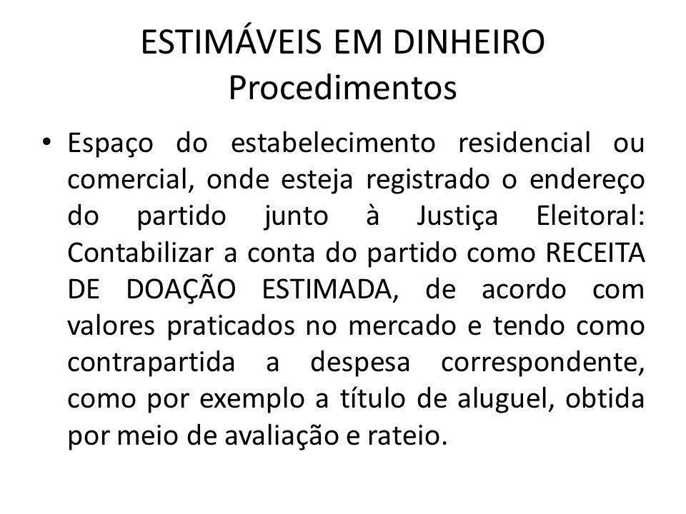 ESTIMÁVEIS EM DINHEIRO Procedimentos • Espaço do estabelecimento residencial ou comercial, onde esteja registrado o endereço do partido junto à Justiç