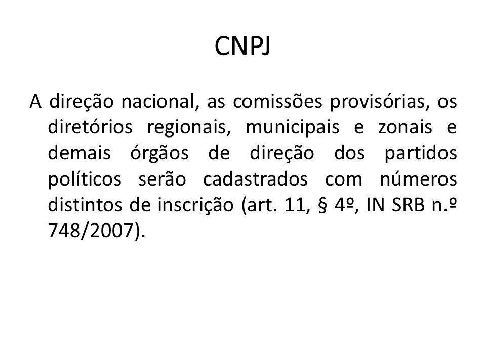 CNPJ A direção nacional, as comissões provisórias, os diretórios regionais, municipais e zonais e demais órgãos de direção dos partidos políticos serã