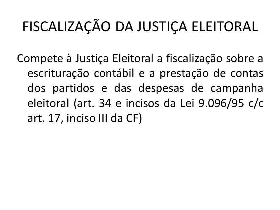 FISCALIZAÇÃO DA JUSTIÇA ELEITORAL Compete à Justiça Eleitoral a fiscalização sobre a escrituração contábil e a prestação de contas dos partidos e das