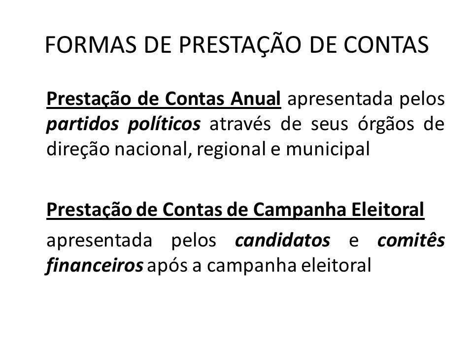 FORMAS DE PRESTAÇÃO DE CONTAS Prestação de Contas Anual apresentada pelos partidos políticos através de seus órgãos de direção nacional, regional e mu