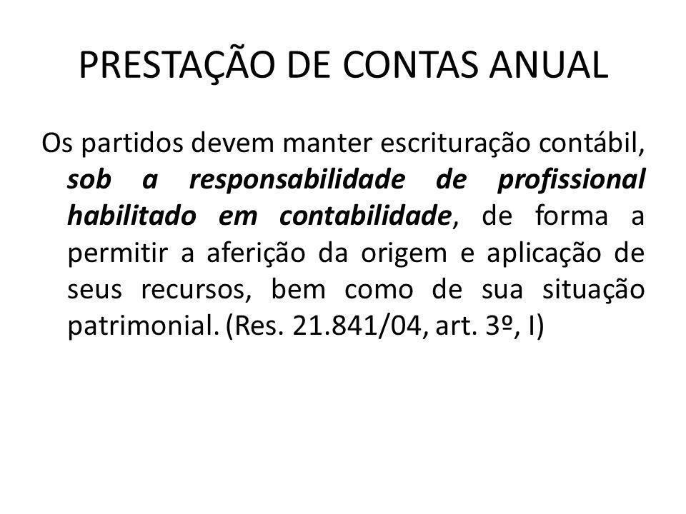 PRESTAÇÃO DE CONTAS ANUAL • LEGISLAÇÃO APLICADA: Lei 9.096/95, artigos 30 ao 44 Resolução TSE n.º 21.841/2004