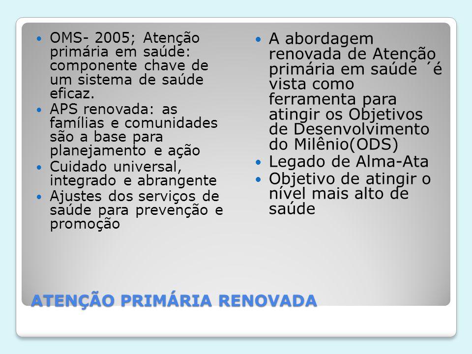 ATENÇÃO PRIMÁRIA RENOVADA  OMS- 2005; Atenção primária em saúde: componente chave de um sistema de saúde eficaz.  APS renovada: as famílias e comuni