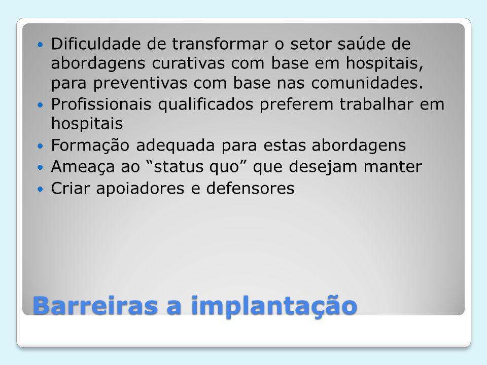 Barreiras a implantação  Dificuldade de transformar o setor saúde de abordagens curativas com base em hospitais, para preventivas com base nas comuni