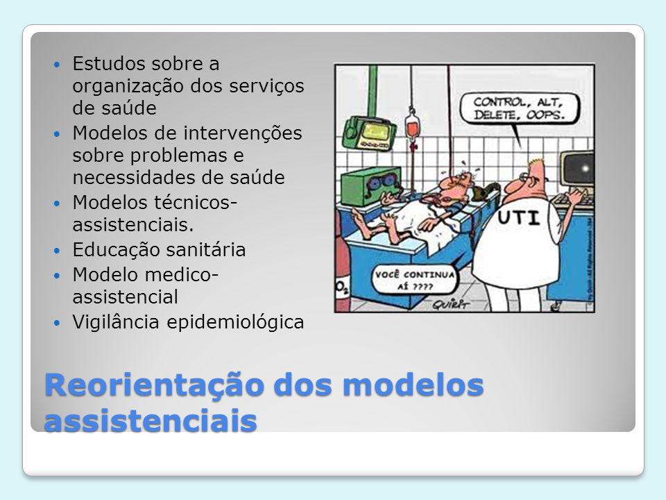 Reorientação dos modelos assistenciais  Modelos em contraste com a integralidade da assistência  Prevenção, controle  05 níveis de prevenção: promoção, proteção, diagnóstico precoce, limitação do dano e reabilitação.