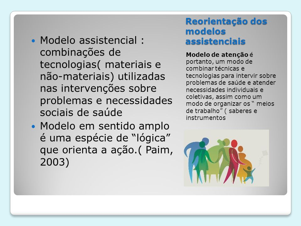 Reorientação dos modelos assistenciais  Combinar os meios técnicos-cientificos para promover a saúde e qualidade de vida.