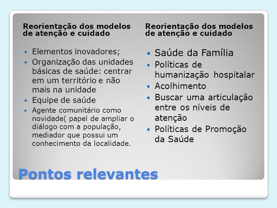 Pontos relevantes Reorientação dos modelos de atenção e cuidado  Elementos inovadores;  Organização das unidades básicas de saúde: centrar em um ter