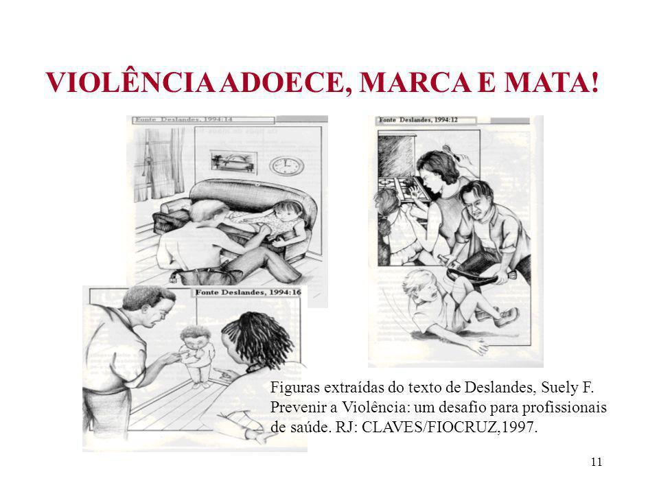 11 VIOLÊNCIA ADOECE, MARCA E MATA.Figuras extraídas do texto de Deslandes, Suely F.