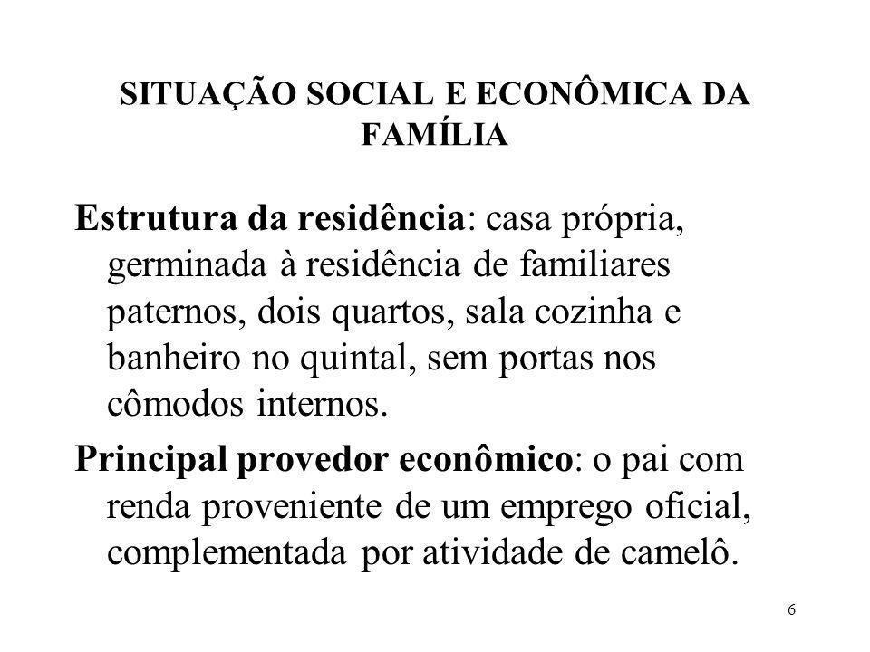 6 SITUAÇÃO SOCIAL E ECONÔMICA DA FAMÍLIA Estrutura da residência: casa própria, germinada à residência de familiares paternos, dois quartos, sala cozinha e banheiro no quintal, sem portas nos cômodos internos.