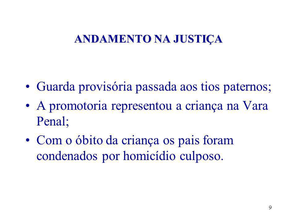 9 ANDAMENTO NA JUSTIÇA •Guarda provisória passada aos tios paternos; •A promotoria representou a criança na Vara Penal; •Com o óbito da criança os pais foram condenados por homicídio culposo.