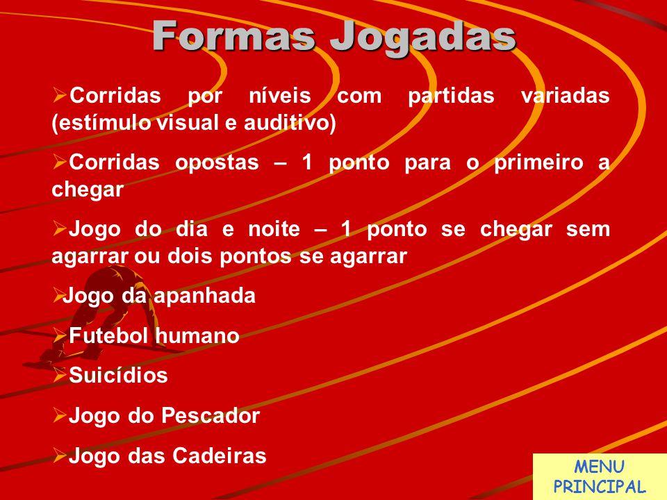 Formas Jogadas  Corridas por níveis com partidas variadas (estímulo visual e auditivo)  Corridas opostas – 1 ponto para o primeiro a chegar  Jogo d