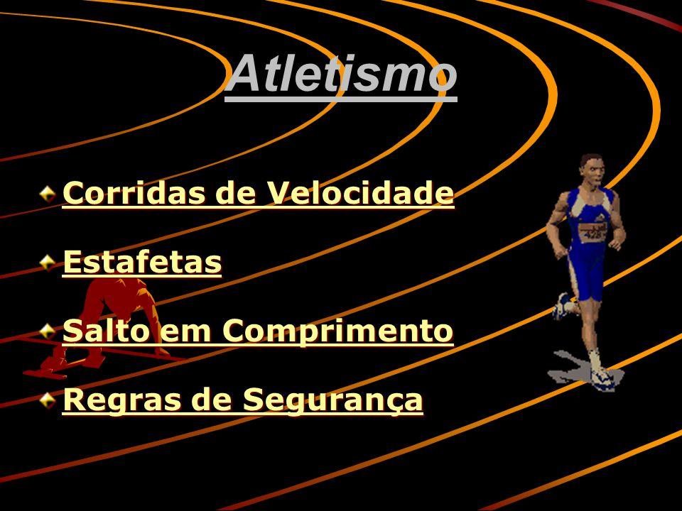 Atletismo Corridas de Velocidade Corridas de Velocidade Estafetas Salto em Comprimento Salto em Comprimento Regras de Segurança Regras de Segurança