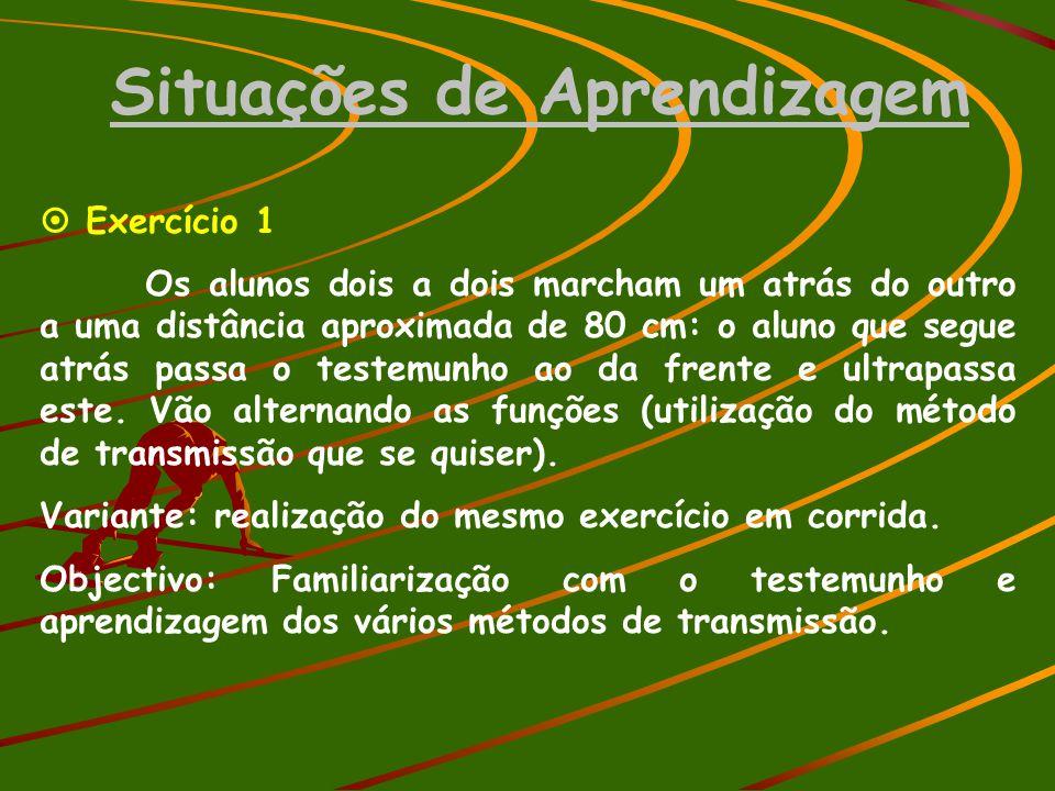 Situações de Aprendizagem  Exercício 1 Os alunos dois a dois marcham um atrás do outro a uma distância aproximada de 80 cm: o aluno que segue atrás p