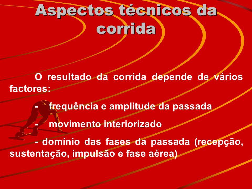Aspectos técnicos da corrida O resultado da corrida depende de vários factores: - frequência e amplitude da passada - movimento interiorizado - domíni