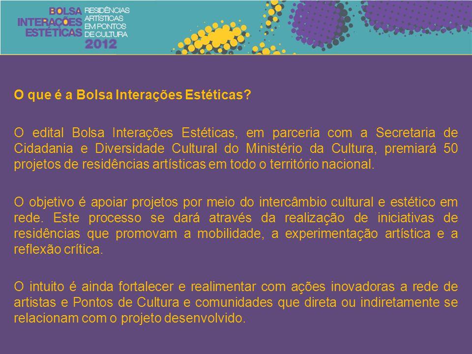 O que é a Bolsa Interações Estéticas? O edital Bolsa Interações Estéticas, em parceria com a Secretaria de Cidadania e Diversidade Cultural do Ministé