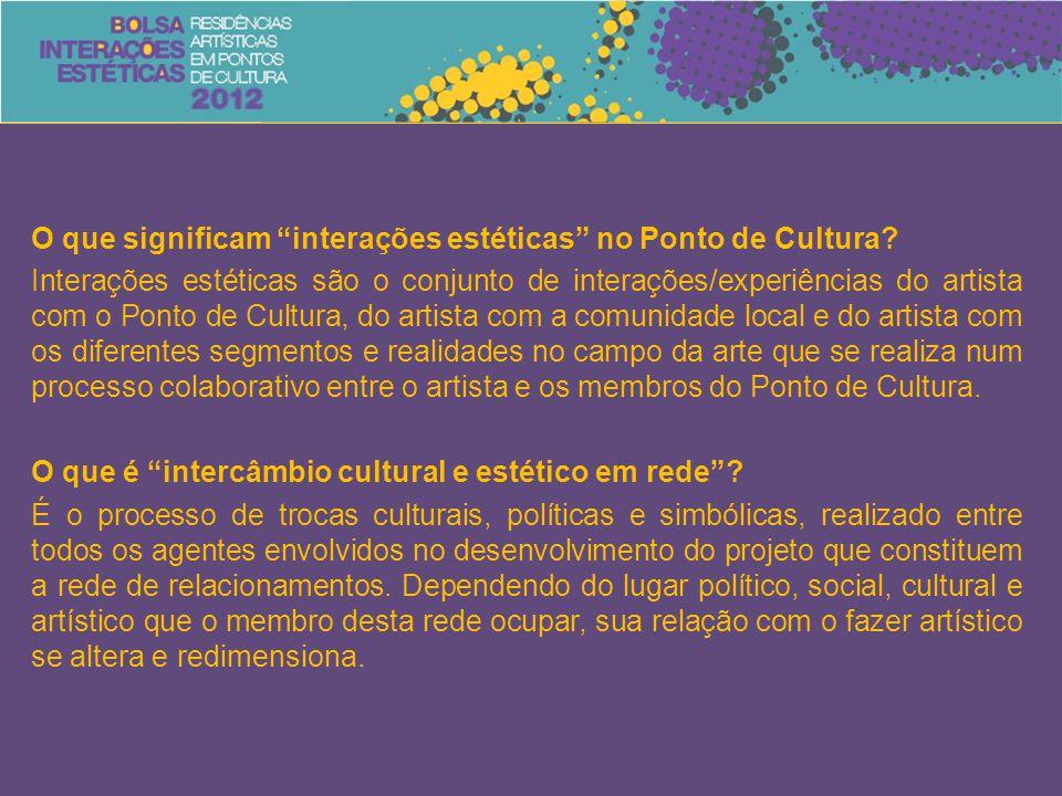 """O que significam """"interações estéticas"""" no Ponto de Cultura? Interações estéticas são o conjunto de interações/experiências do artista com o Ponto de"""