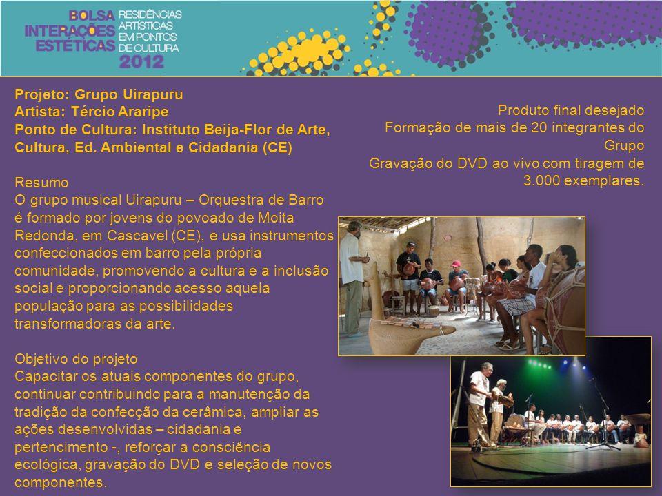 Projeto: Grupo Uirapuru Artista: Tércio Araripe Ponto de Cultura: Instituto Beija-Flor de Arte, Cultura, Ed. Ambiental e Cidadania (CE) Resumo O grupo