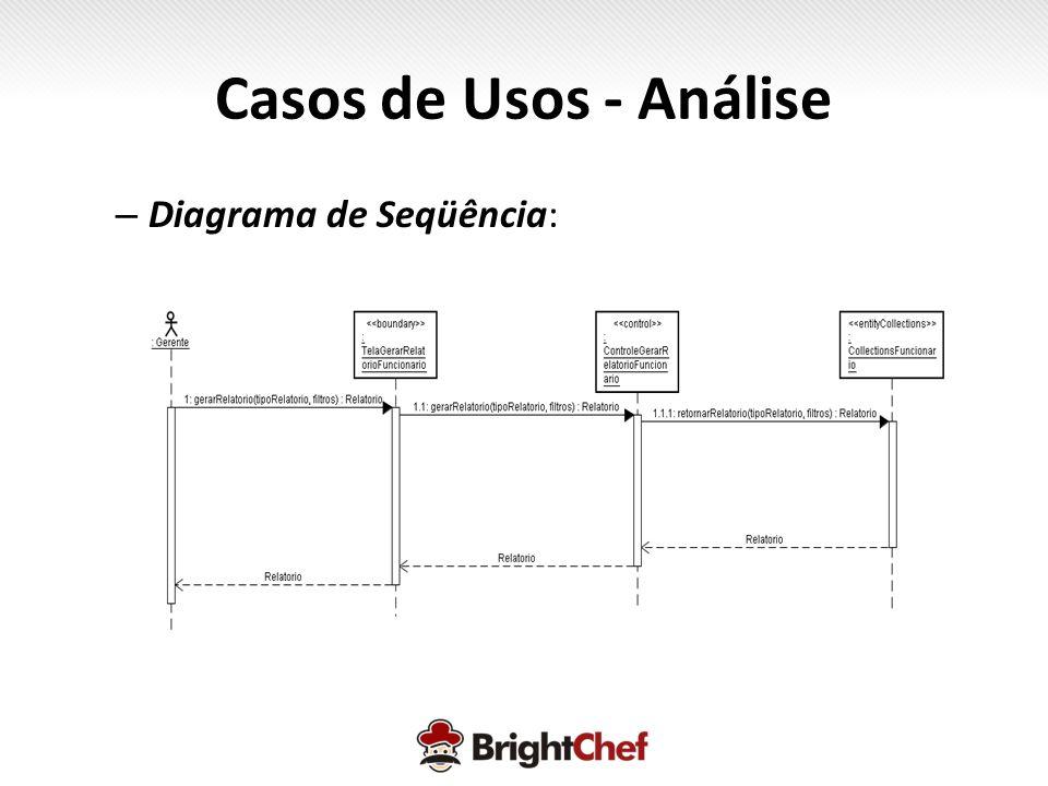 – Diagrama de Seqüência: Casos de Usos - Análise