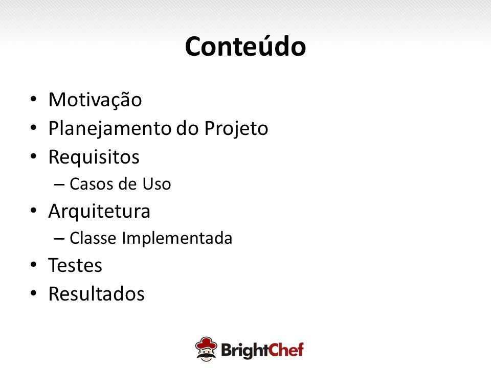 Conteúdo • Motivação • Planejamento do Projeto • Requisitos – Casos de Uso • Arquitetura – Classe Implementada • Testes • Resultados