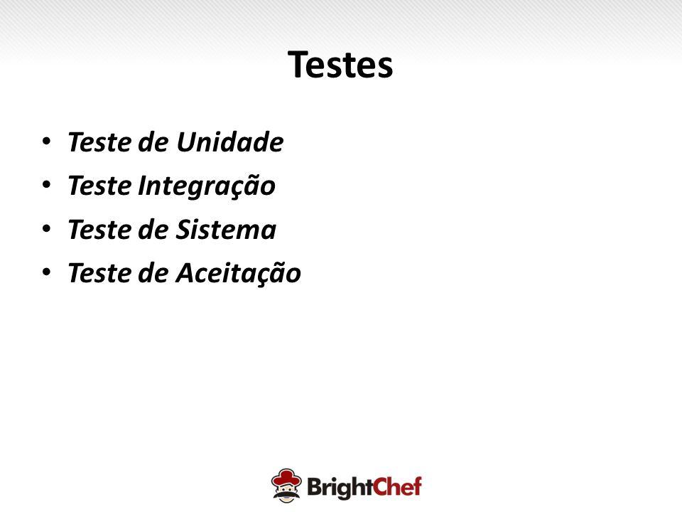 Testes • Teste de Unidade • Teste Integração • Teste de Sistema • Teste de Aceitação
